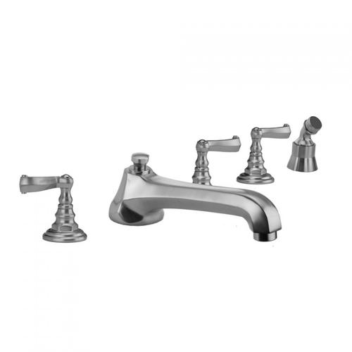 Jaclo - Polished Chrome - Westfield Roman Tub Set with Low Spout and Ribbon Lever Handles and Angled Handshower Mount