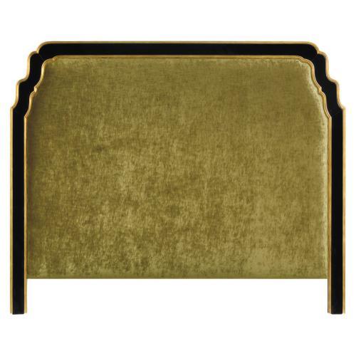 US Queen Black & Gilded Headboard, Upholstered in Lime Velvet