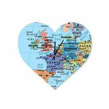 Custom Wedding (honey Moon) Location Map Heart Acrylic Wall Clock