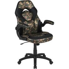 View Product - X10 Gaming Chair Racing Office Ergonomic Computer PC Adjustable Swivel Chair with Flip-up Arms, Camouflage/Black LeatherSoft