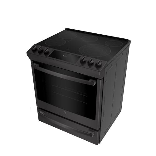 """GE Profile 30"""" Electric Slide-In Range with Baking Drawer Black Stainless Steel - PCS940BMTS"""