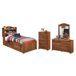 Twin Bookcase Bed With 4 Storage Drawers With Mirrored Dresser and Chest