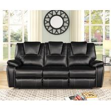 8084 BLACK Manual Recliner Air Leather Sofa