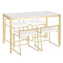 See Details - Fuji Dinette Set - Gold Metal, White Marble, White Velvet