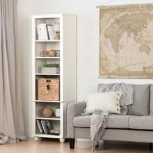 Narrow 6-Shelf Bookcase with Rattan Basket - White Wash and Beige