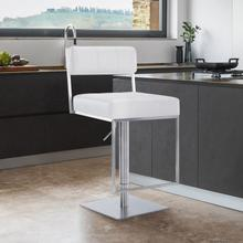View Product - Michele Contemporary Swivel Barstool in Brushed Stainless Steel and White Faux Leather