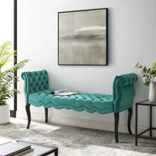 Adelia Chesterfield Style Button Tufted Performance Velvet Bench in Teal