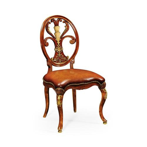Carving Oval Back Chair Side Leather Seat