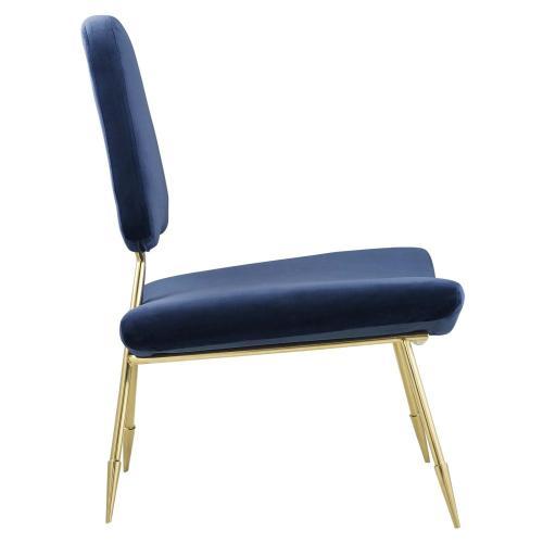 Ponder Performance Velvet Lounge Chair in Navy