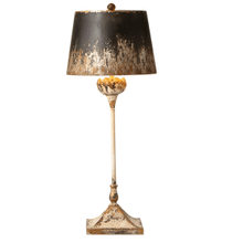 Distressed Ivory & Black with Gold Tall Flower Buffet Lamp. 60W Max.