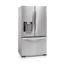 Refurbished 3-Door French Door Refrigerator with Ice and Water Dispenser (25 cu.ft.; Stainless Steel) (This is a Stock Photo, actual unit (s) appearance may contain cosmetic blemishes. Please call store if you would like actual pictures). This unit carries our 6 month warranty, MANUFACTURER WARRANTY and REBATE NOT VALID with this item. ISI 44114