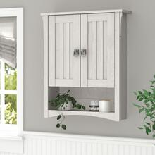Salinas Bathroom Bathroom Wall Cabinet with Doors - Linen White Oak