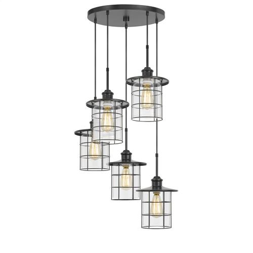 60W x 5 Silverton metal/glass pendant fixture (Edison bulbs included)