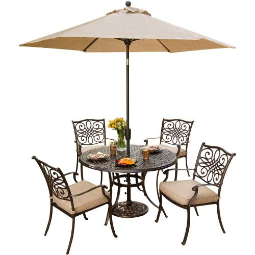 Hanover Traditions 5 Pc. Dining Set of 4 Aluminum Cast Dining Chairs, 48 in. Round Table, and a Table Umbrella, TRADITIONS5PC-SU