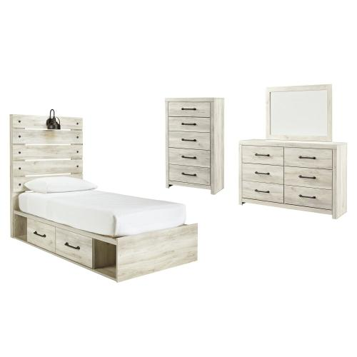 Ashley - Twin Panel Bed With 4 Storage Drawers With Mirrored Dresser and Chest