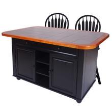 See Details - Kitchen Island Set - Antique Black w/Gray Tile Top (3 Piece)