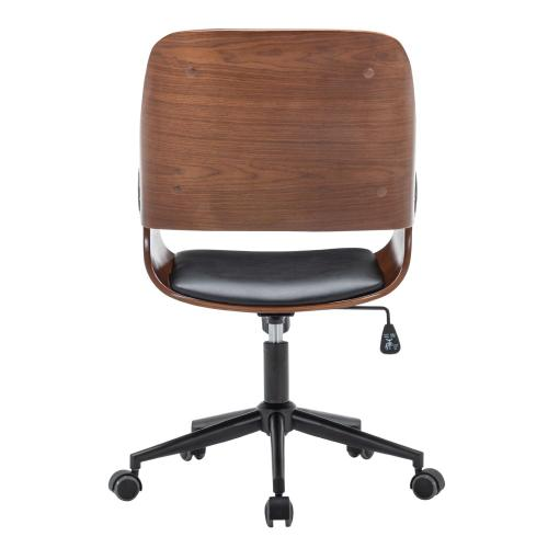Warren KD PU Office Chair, Black/Walnut
