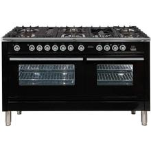 See Details - Professional Plus 60 Inch Dual Fuel Liquid Propane Freestanding Range in Glossy Black with Chrome Trim