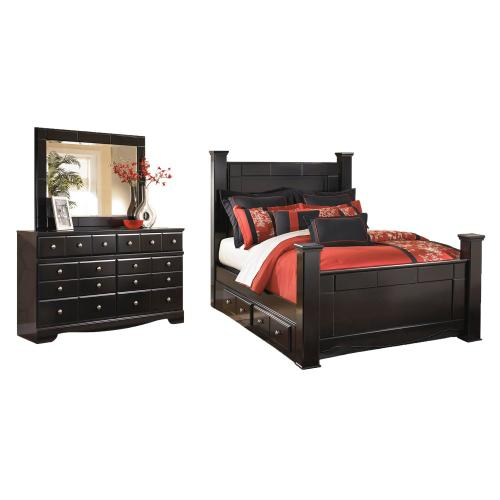 Ashley - King Poster Bed With 2 Storage Drawers With Mirrored Dresser