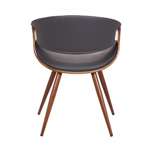 Armen Living Butterfly Mid-Century Dining Chair in Walnut Wood and Gray Faux Leather