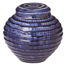 Large Blue Wave Lidded Garden Pot.