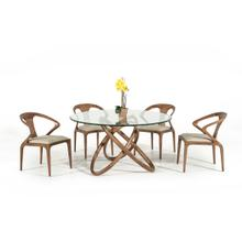 Modrest Mason Modern Round Glass & Walnut Dining Table