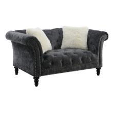 Hutton II Loveseat Nailhead W- 2 Pillows Charcoal