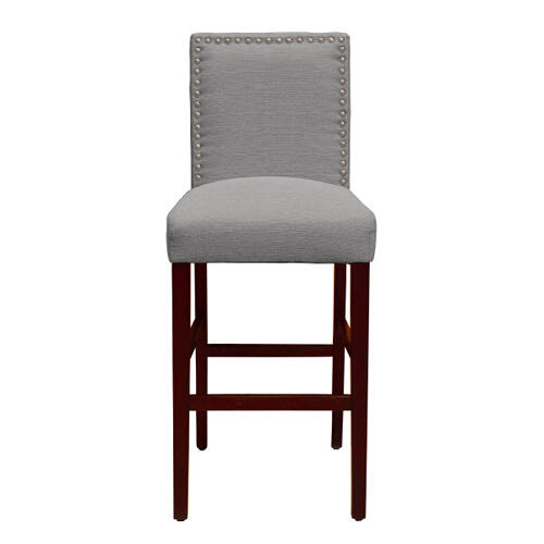 Nailhead Trim Upholstered Barstool in Gray