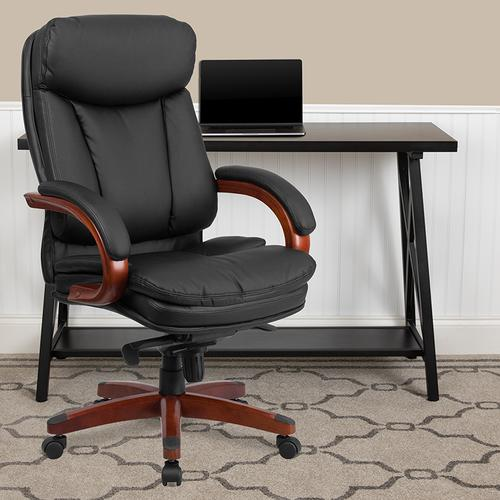 Gallery - High Back Black LeatherSoft Executive Ergonomic Office Chair with Synchro-Tilt Mechanism, Mahogany Wood Base and Arms