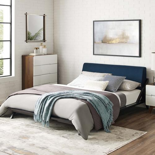 Modway - Luella Queen Upholstered Fabric Platform Bed in Cappuccino Blue
