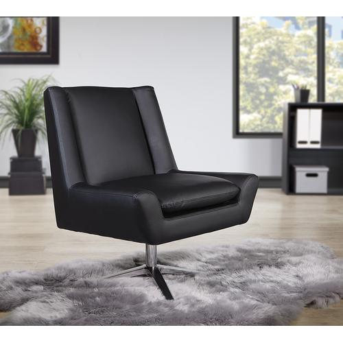 Faux Leather Guest Chair In Black Faux Leather and Aluminum Base