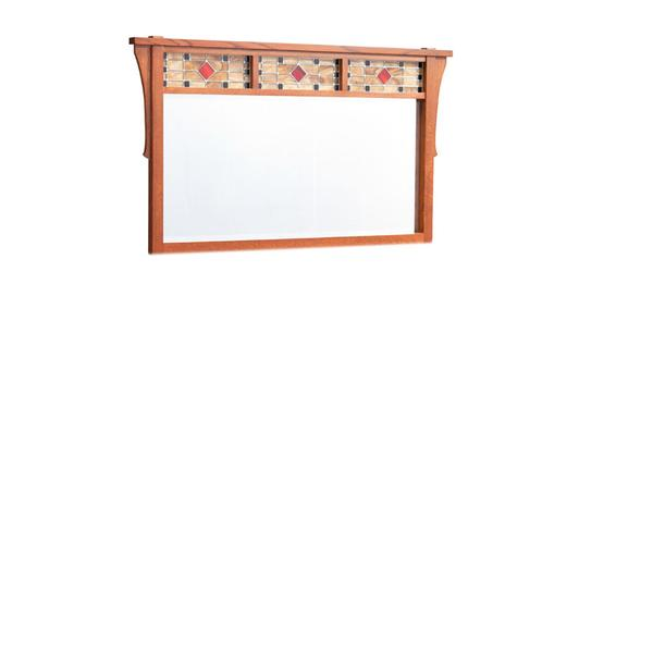 Grant Bureau Mirror with Stained Glass, Large
