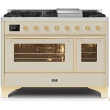 Majestic II 48 Inch Dual Fuel Liquid Propane Freestanding Range in Antique White with Brass Trim