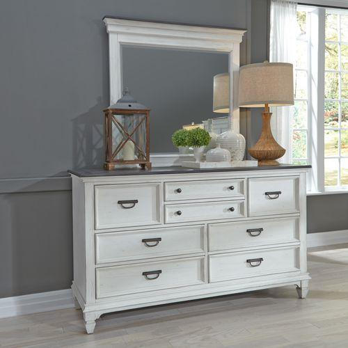 King Panel Bed, Dresser & Mirror, Night Stand