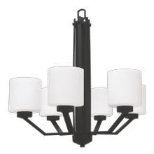 Paris 6-Light Chandelier- Matte Black Finish- White Cylinder Glass