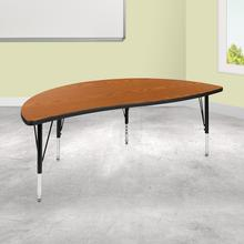 """See Details - 60"""" Half Circle Wave Flexible Collaborative Oak Thermal Laminate Activity Table - Height Adjustable Short Legs"""