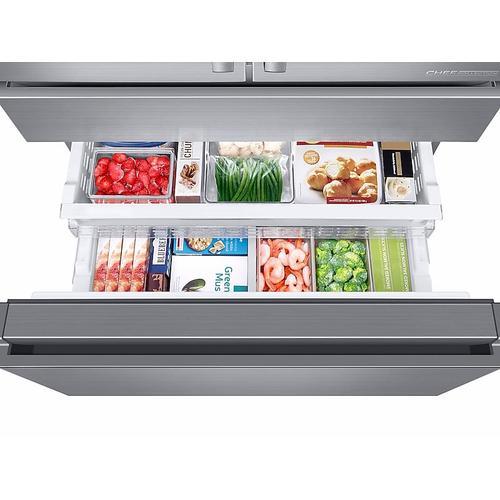 Samsung - 23 cu. ft. Counter Depth 4-Door French Door Freestanding Chef Collection Refrigerator in Stainless Steel