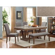 Vesper Marble Rectangular Dining Room Set: Marble Table, 4 Chairs & Bench