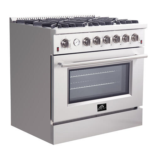 "Product Image - 36"" Gas Range FORNO ALTA QUALITA Pro-Style Gas 6 Italian Burners 83,000 BTU All 304 Stainless Steel FFSGS6291-36"