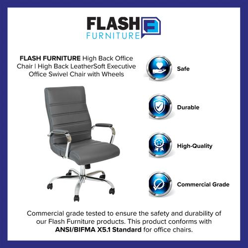 Gallery - High Back Gray LeatherSoft Executive Swivel Office Chair with Chrome Frame and Arms