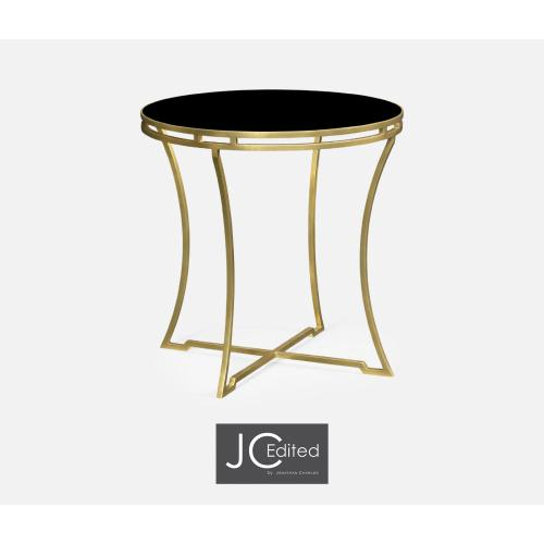 Gilded Iron Round Side Table with A Black Glass Top