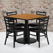 36'' Square Natural Laminate Table Set with Round Base and 4 Ladder Back Metal Chairs - Black Vinyl Seat
