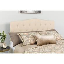 Cambridge Tufted Upholstered Queen Size Headboard in Beige Fabric