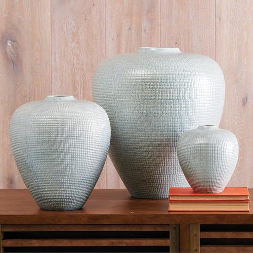 Mini Check Bulbous Vase-Reactive Silver Blue