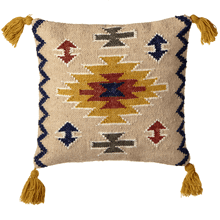 Mustard, Rust & Indigo Kilim Pillow with Tassels