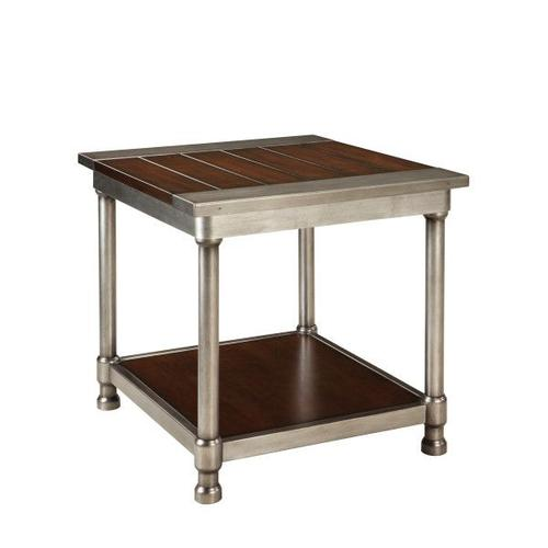 Hudson Aged Steel End Table, Cherry Brown