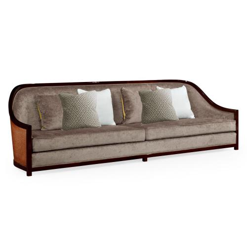 """110"""" Sofa in Sonokelling & Rattan, Upholstered in Velvet Truffle"""