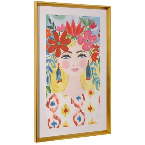 Style Craft - BOHO GIRL I  36in ht X 22in w  Framed Print Under Glass