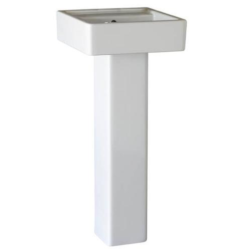 Cossu 16 Inch Square Pedestal Bathroom Sink - Canvas White