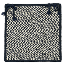 "Outdoor Houndstooth Tweed Chair Pad OT59 Navy 15"" X 15"" (Single)"